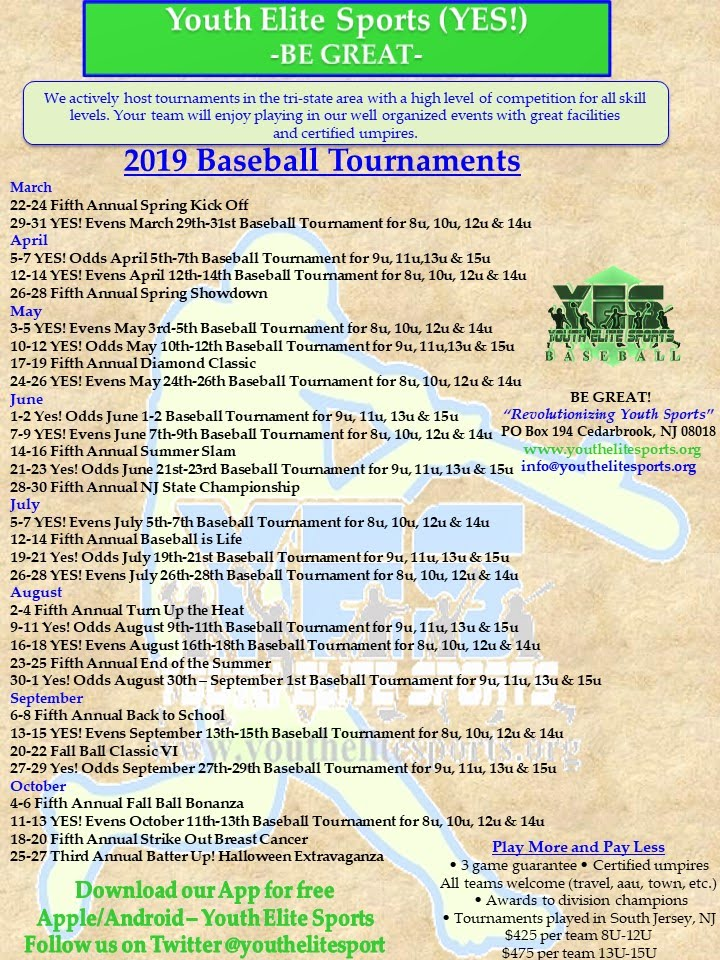 2019 Baseball Tournaments - Youth Elite Sports